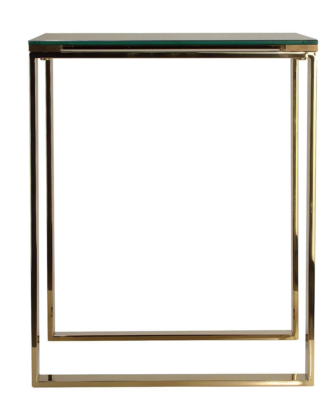 Cortesi Home Remini End Table, Gold Metal and Black Glass