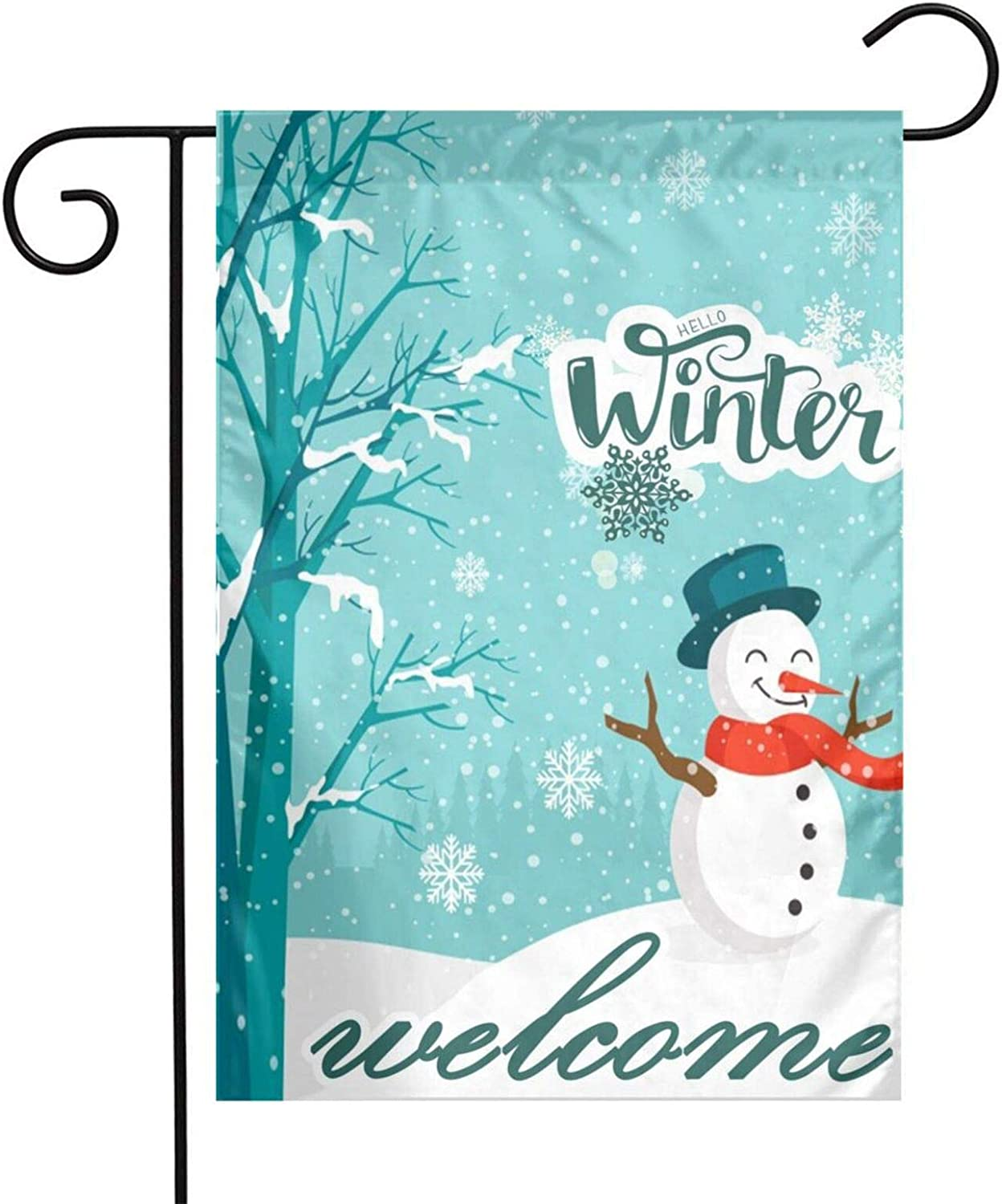 Christmas Snowman Welcome Winter Garden Flag 12'x18' Double Sided Hello Winter Snowy Snowflakes Yard Banner Winter Seasonal House Decoration Indoor & Outdoor
