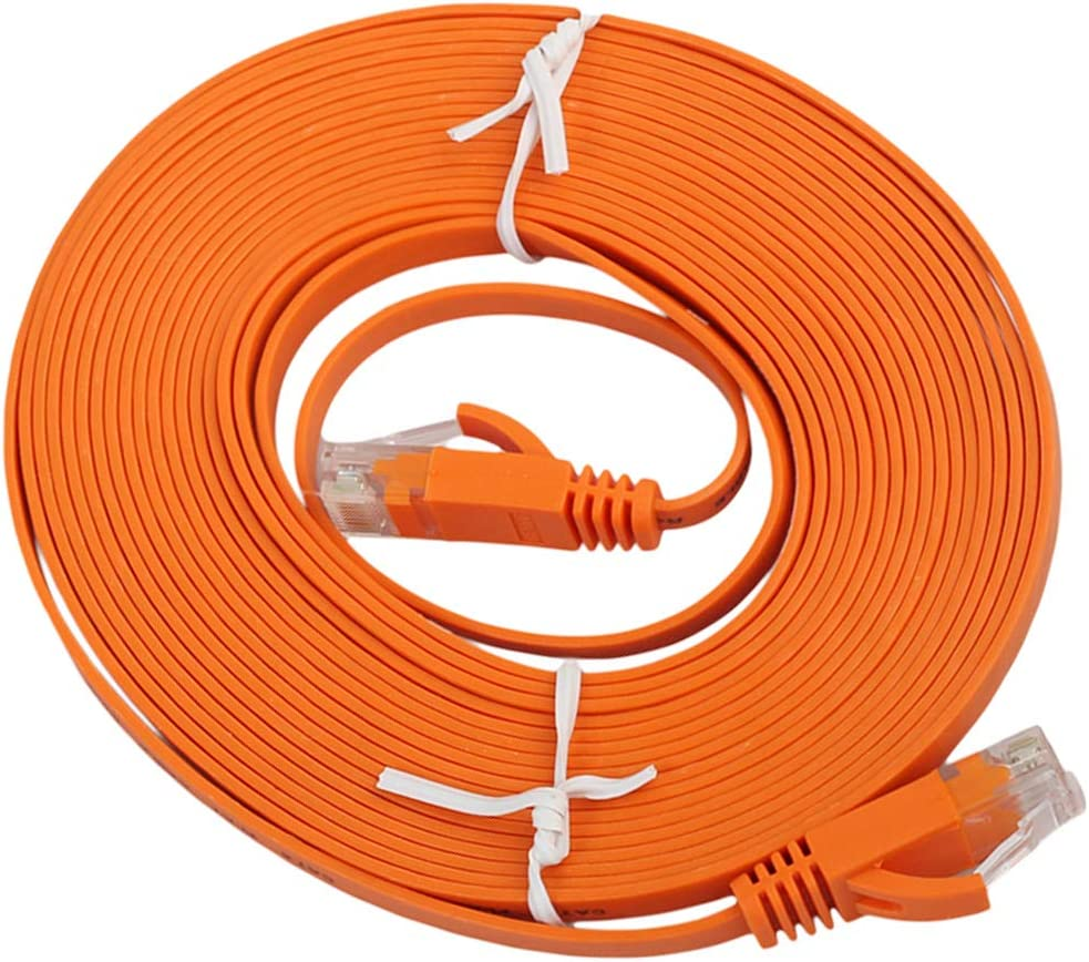 Black Patch Lead RJ45 Computer Supplies 5m CAT6 Ultra-Thin Flat Ethernet Network LAN Cable Color : Orange