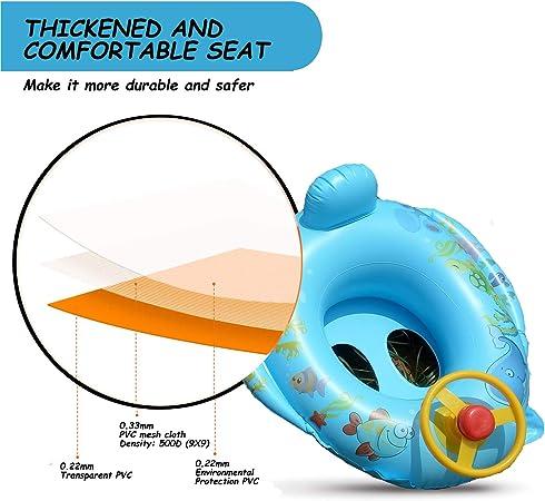 Branger Flotador Antivuelco Bebe Hinchable para Ni/ña e Ni/ño 0-4 A/ños de Edad Piscina Flotador Natacion Bebe para Coche con Volante Material de PVC Seguro e Inofensivo Azul y Rosa