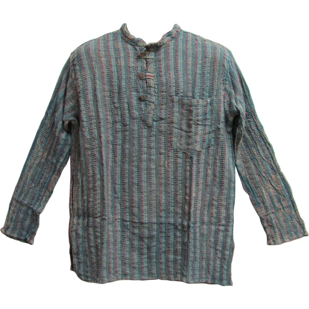80642db596d3ba Men's Vintage Indian Heavy Cotton Hippie Ethnic Striped Blue/Gray Tunic  Shirt at Amazon Men's Clothing store: