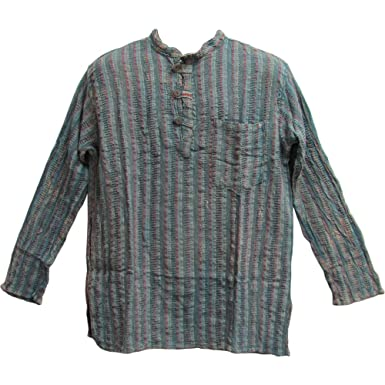 648620f5320d6a Men's Vintage Indian Heavy Cotton Hippie Ethnic Striped Blue/Gray Tunic  Shirt (Small/