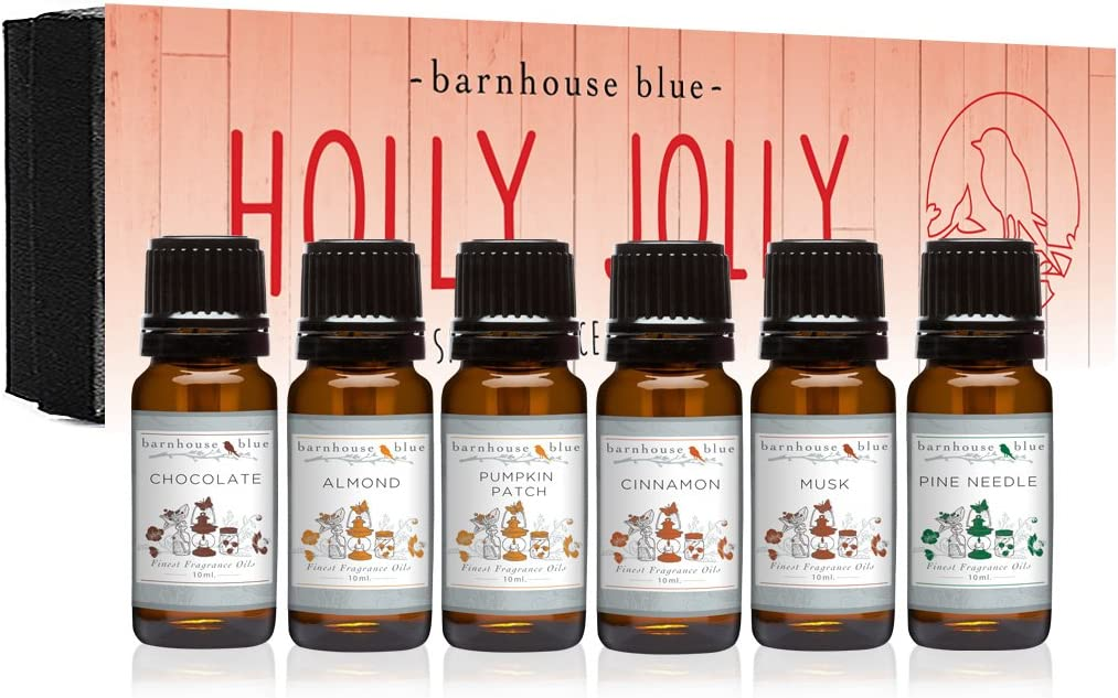 Premium Grade Fragrance Oil - Holly Jolly - Gift Set 6/10ML Bottles - Almond, Chocolate, Cinnamon, Musk, Pine Needle, Pumpkin