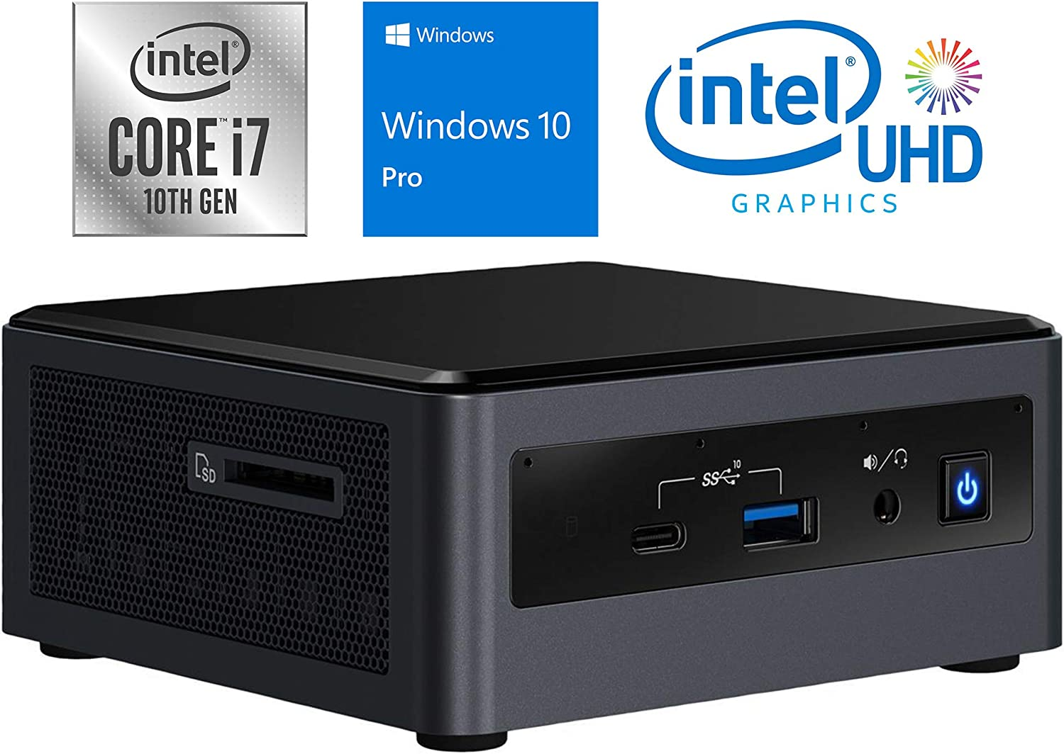 Intel NUC10i7FNH Mini PC, Intel Core i7-10710U Upto 4.7GHz, 32GB RAM, 1TB NVMe SSD + 1TB HDD, HDMI, Thunderbolt, Card Reader, Wi-Fi, Bluetooth, Windows 10 Pro