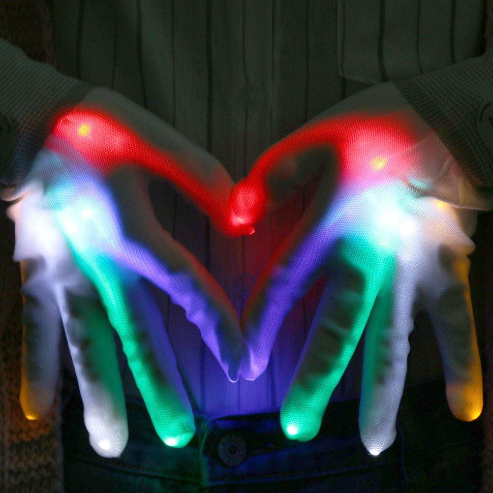 Weihnachten Sports,Stage Performance Laufen LED Handschuhe,Vicloon LED leuchtende Finger-Handschuhe mit 5 Farben 6 Modi f/ür Clubs,Disco,Festivals Radfahren