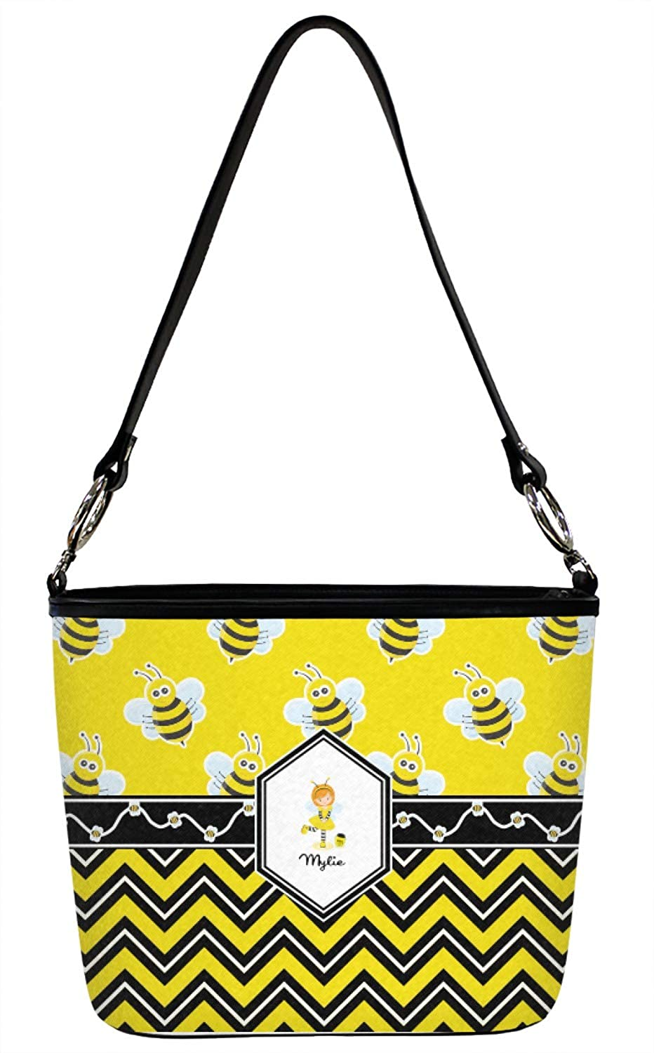 Front Personalized Buzzing Bee Bucket Bags w//Genuine Leather Trim Large