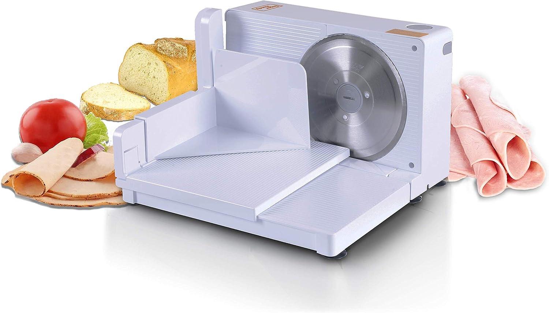 SuperHandy Trancheuse 17cm Portable Professionnel et Pliable électrique AC 230V 50Hz 120 Watt pour: viandes, Deli et fromages à Acier Inoxydable Lame RSG Solingen