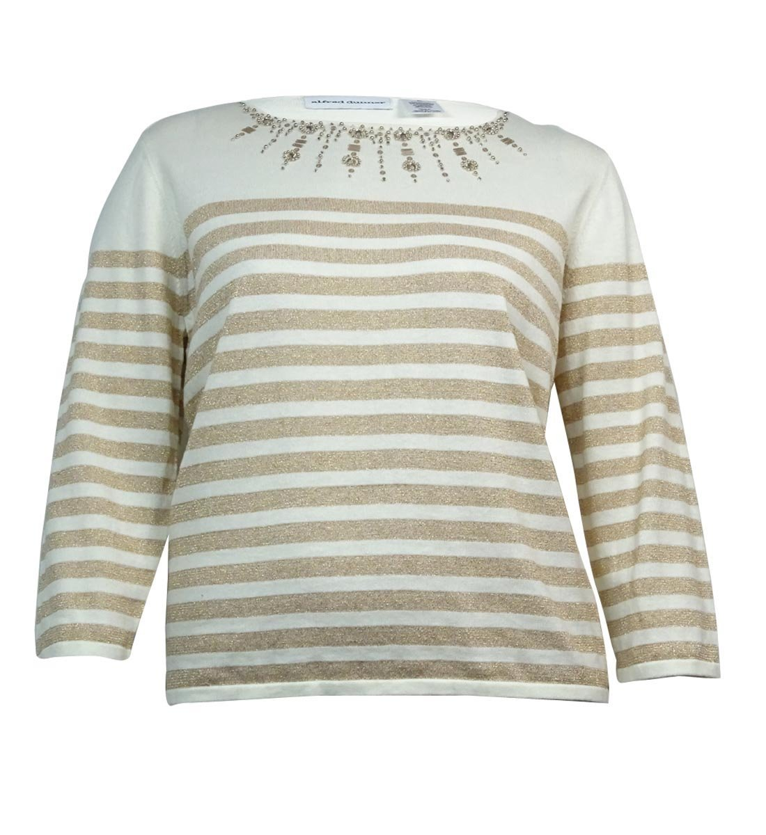 Alfred Dunner Women's Beaded Metallic Striped Top (PS, Ivory/Gold)