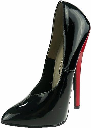 vicino Fare un pupazzo di neve bunker  Killer Heels Women's Sexy Court Shoe Shiny Black & Red High Heel 6 inch:  Amazon.co.uk: Shoes & Bags