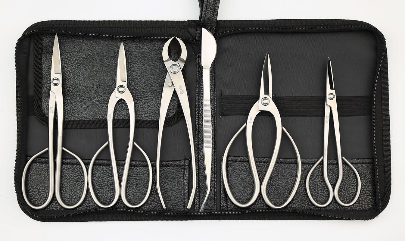 Master's Grade 6 PCS Scissors Bonsai tool set (kit) JTTK-08B From TianBonsai