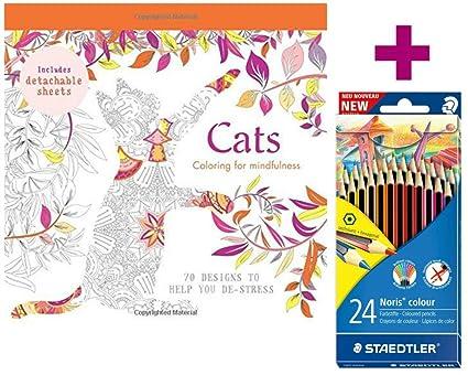 Juego para colorear para: gatos para colorear para Mindfulness + 24 lápices de colores Staedtler