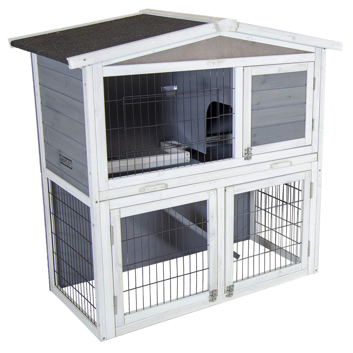 Grey Charles Bentley Two Storey Rabbit Hutch With Play Area  Grey & White