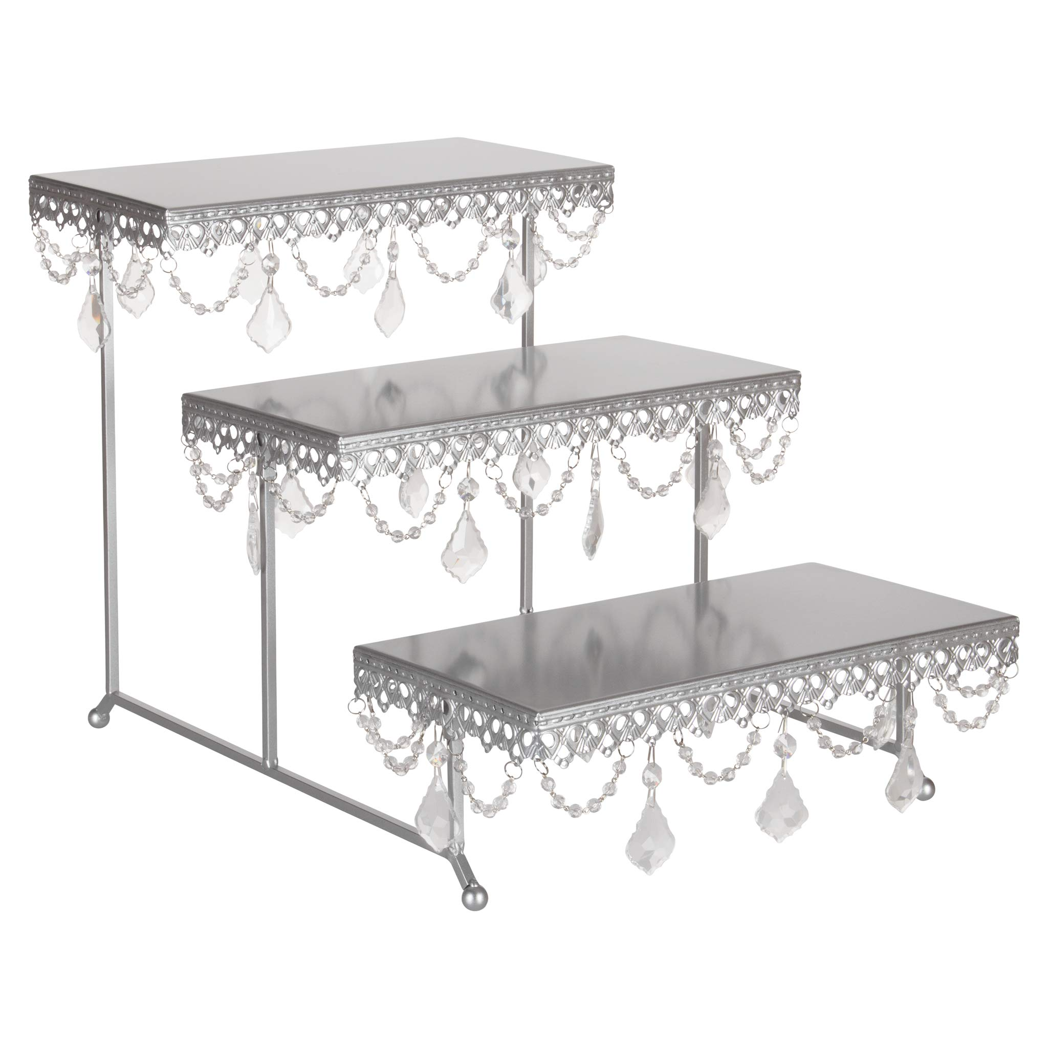 Amalfi Decor 3 Tier Dessert Cupcake Stand, Pastry Candy Cake Cookie Serving Platter for Wedding Event Birthday Party, Rectangular Metal Plate Tower Tray Holder with Crystals, Silver by Amalfi Décor