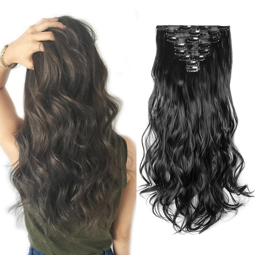 Clip in Hair Extensions Synthetic Full Head Charming Hairpieces Thick Long Straight 8pcs 18clips for Women Girls Lady (24 inches-wavy, dark black)