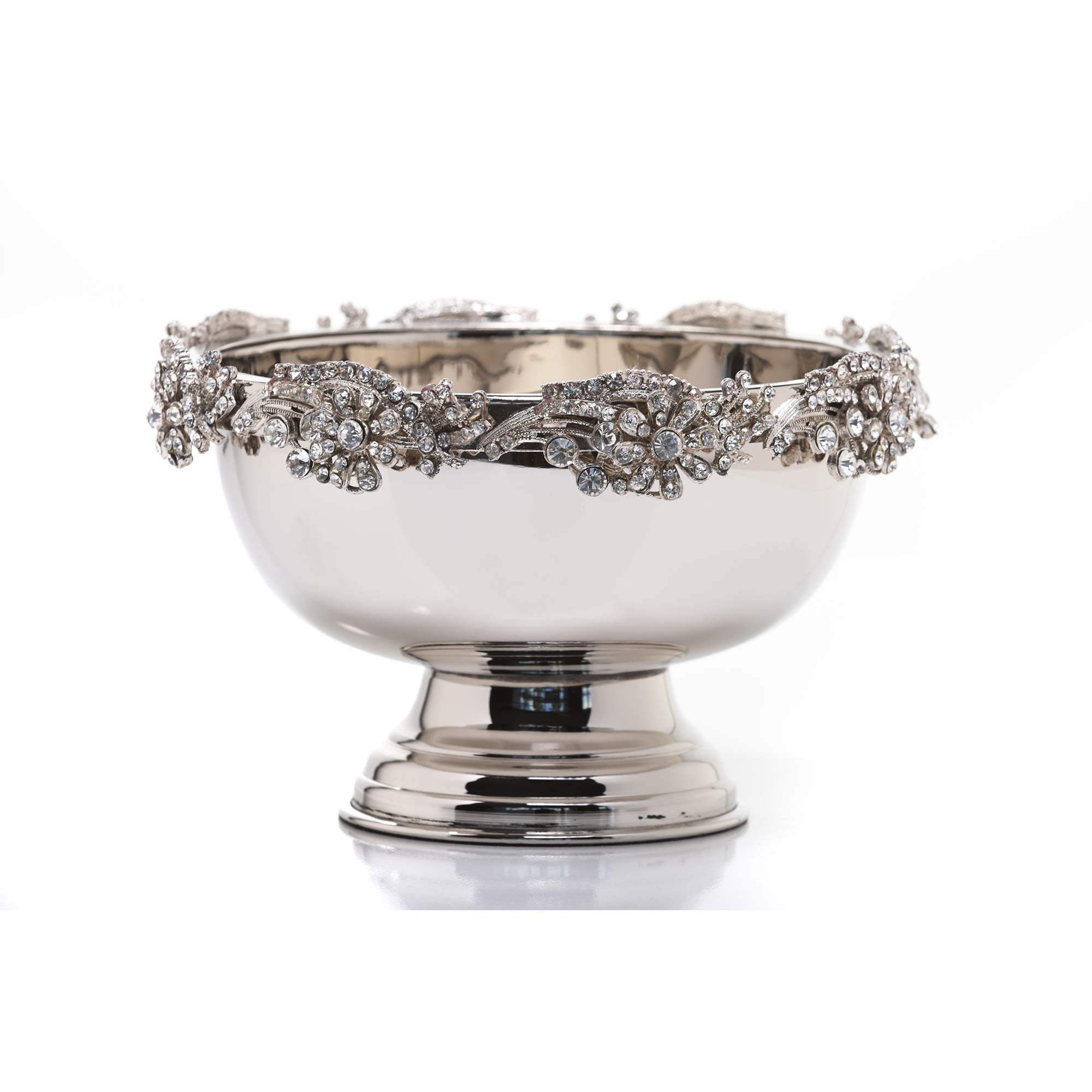 IMPULSE! Diamond Studded Stainless Steel Punch Bowl, Champagne Beer Wine Cooler, Large Centerpiece Bowl