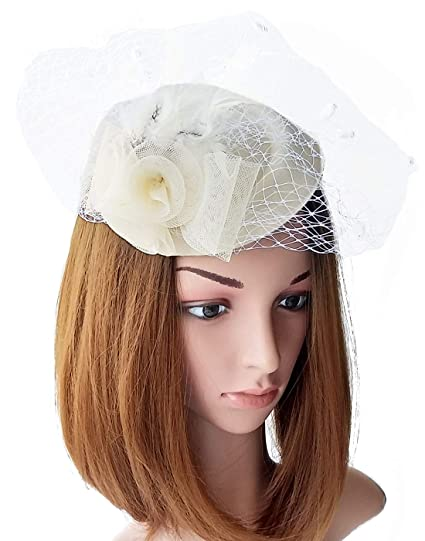 866ef2bda9b Fascinator Womens Pillbox Hat British Bowler Hat Flower Veil Wedding Hat  Tea Party Hat (Beige