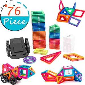 cossy Magnet Tiles Building Block, 76 PCs Magnetic Stick and Stack Set for Girls and Boys, Perfect STEM Educational Toys for Kids Children. Suitable for for 3+ Year