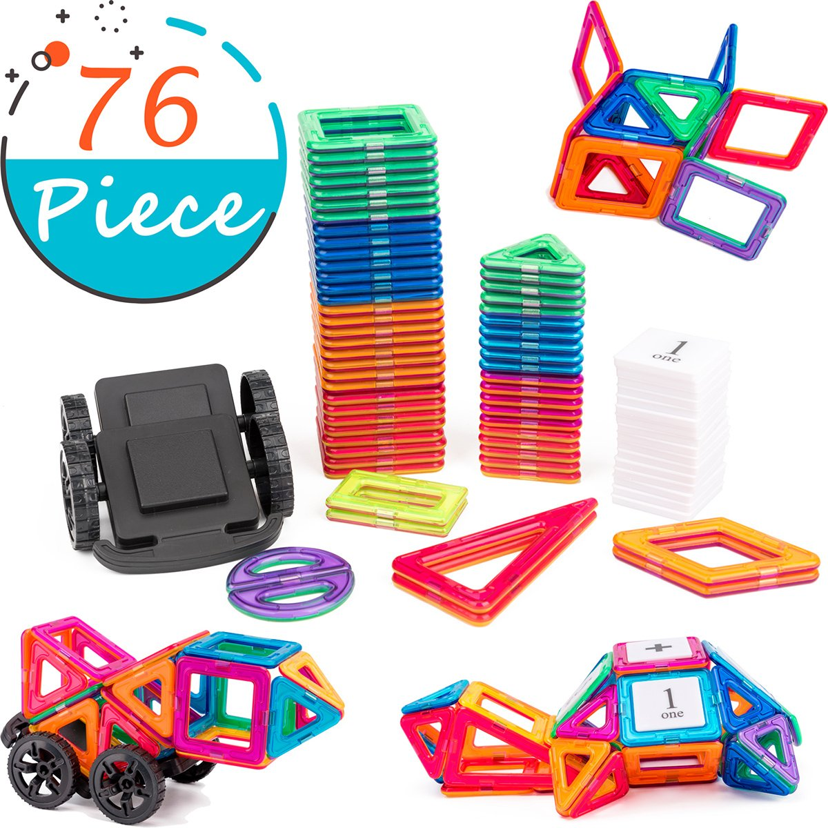cossy Magnet Tiles Building Block, 76 PCs Magnetic Stick and Stack Set for Girls and Boys, Perfect STEM Educational Toys for Kids Children by cossy