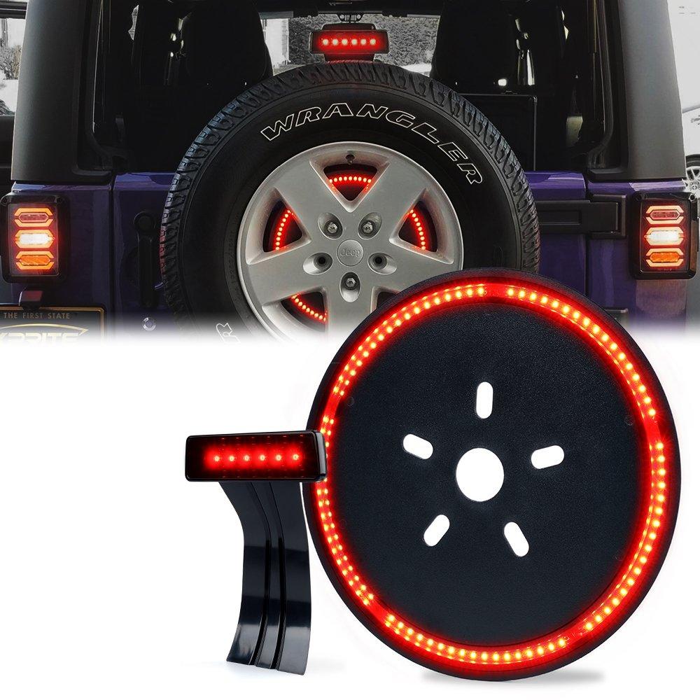 Xprite Jeep Wrangler 14' Spare Tire Brake Light & 3rd Third Brake Light w/Smoke Lens LED Tail Lamps for 2007-2018 Jeep Wrangler & Wrangler Unlimited JK