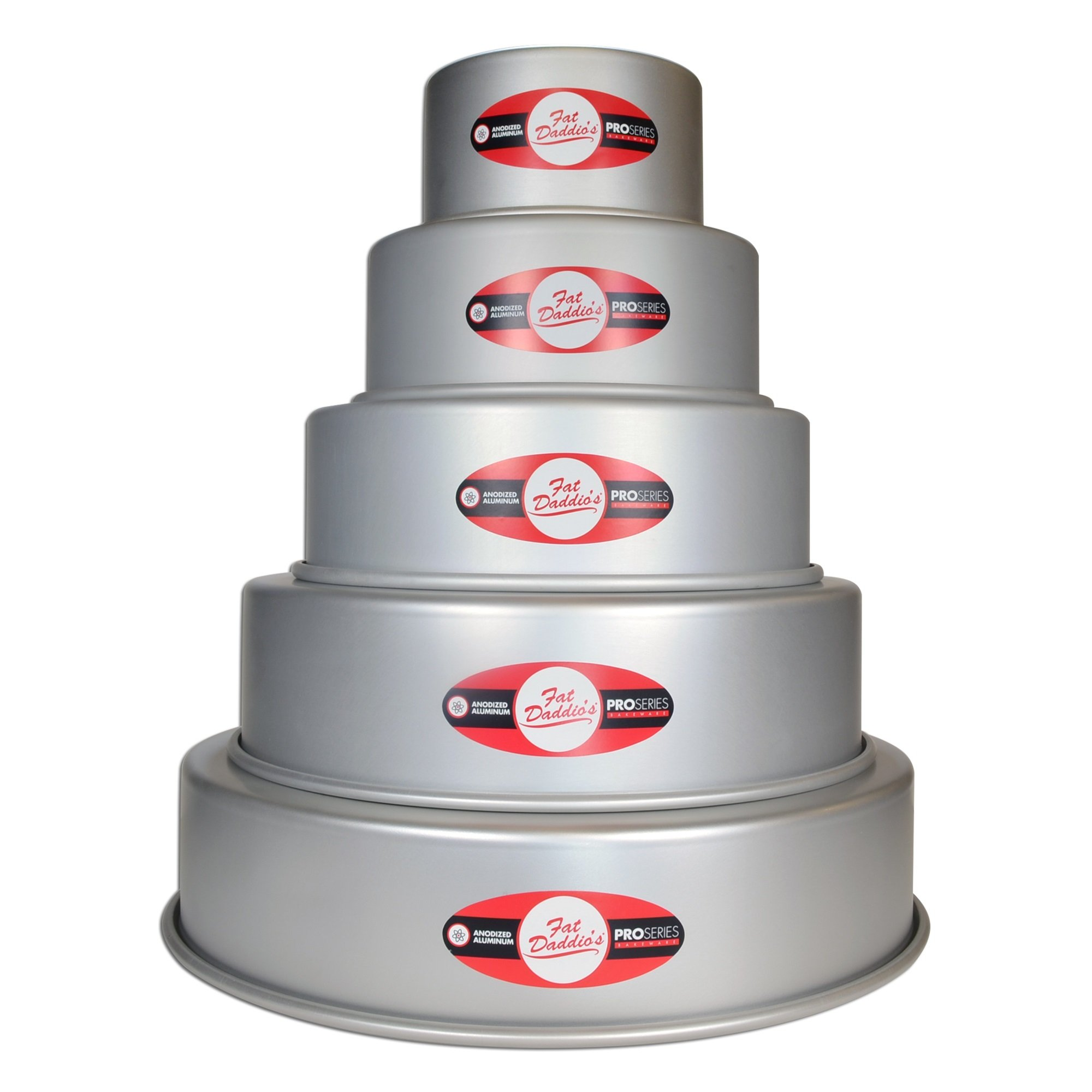 Fat Daddio's 5 Tier 3'', 5'', 7'', 9'', 11'' and 13'' Round Cake Pan Set
