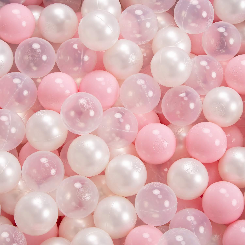 KiddyMoon 90X40//Sansballes Piscine /À Balles pour B/éb/é Rond Fabriqu/é en UE Gris Clair:Turquoise Clair//Blanc//Transparent//Turq.