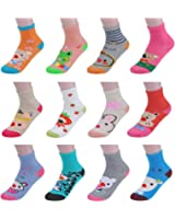 Ezclassy- Girls' 12 Pack Crew Socks