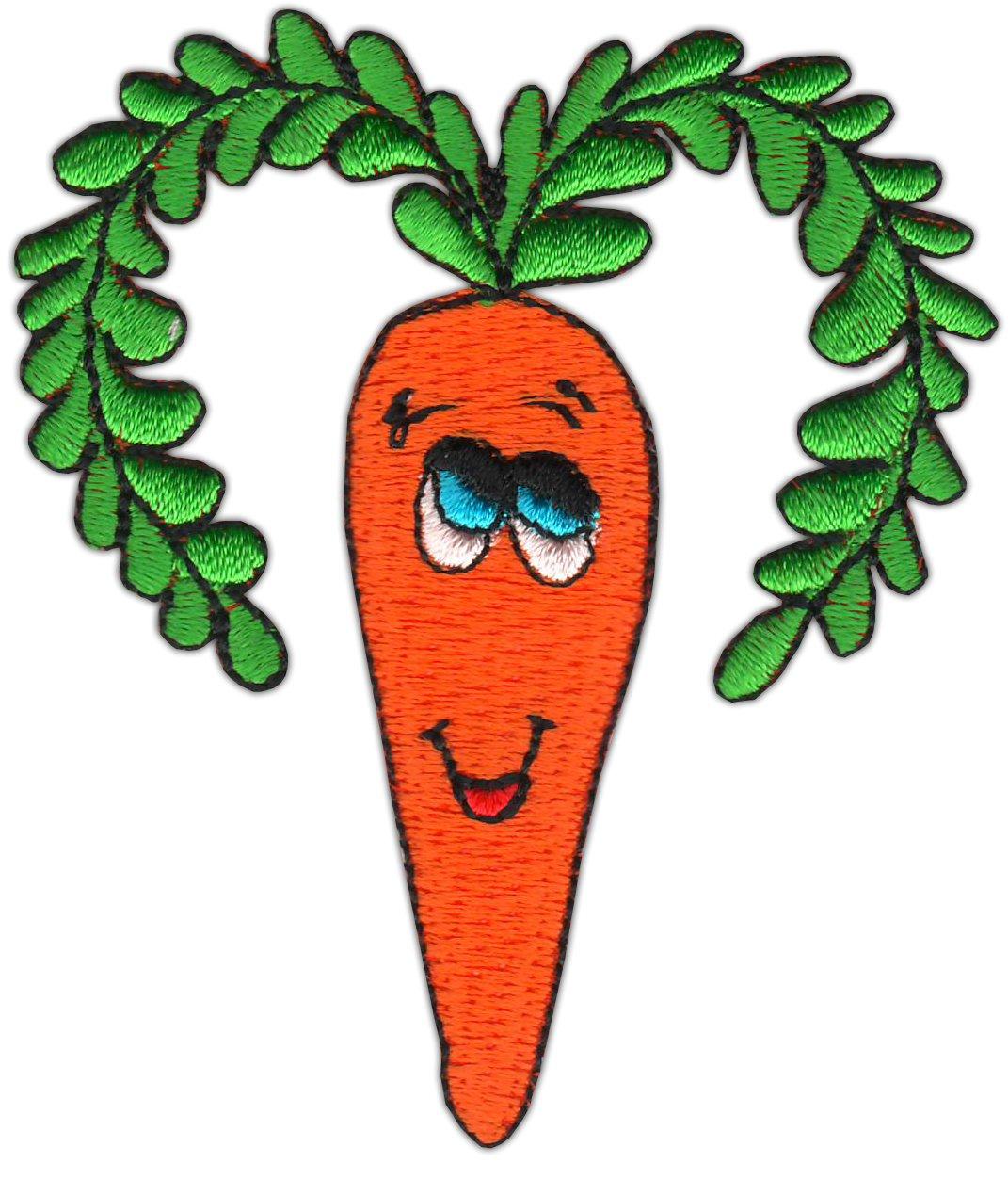 Patches Aufbügeln orange Karotte Gemüse 8 x 4,9 cm Aufnäher // Bügelbild