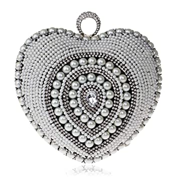 Donna Clutch Borsa Tipo de amor Bolsos de noche de embragues de perlas para mujer Bolsos ...
