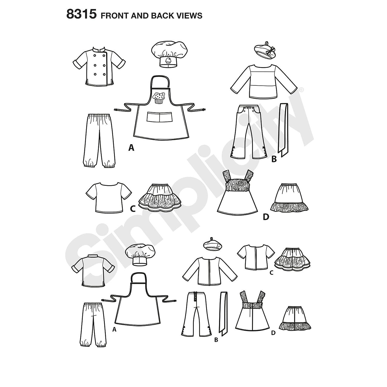 Simplicity patrón de Costura para Ropa de muñeca Chef, Color Blanco ...