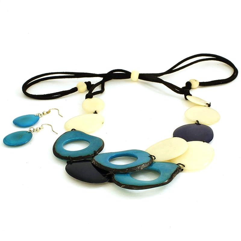Blue Multi Strand Bib Necklace Set made of Tagua