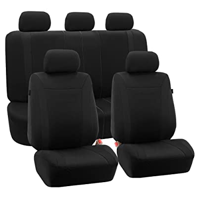 FH Group FB054BLACK115 Black Cosmopolitan Flat Cloth Seat Cover (Airbag Ready Split Bench Solid Full Set): Automotive