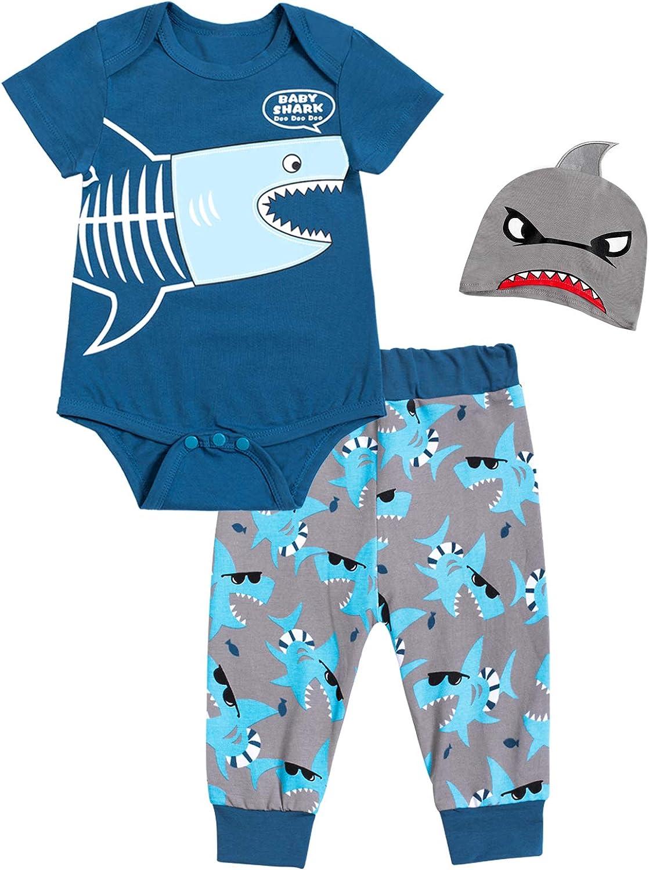 Baby Boy Girl Clothes Shark Doo Doo Print Romper Tops Outfit Set Cute Bodysuit