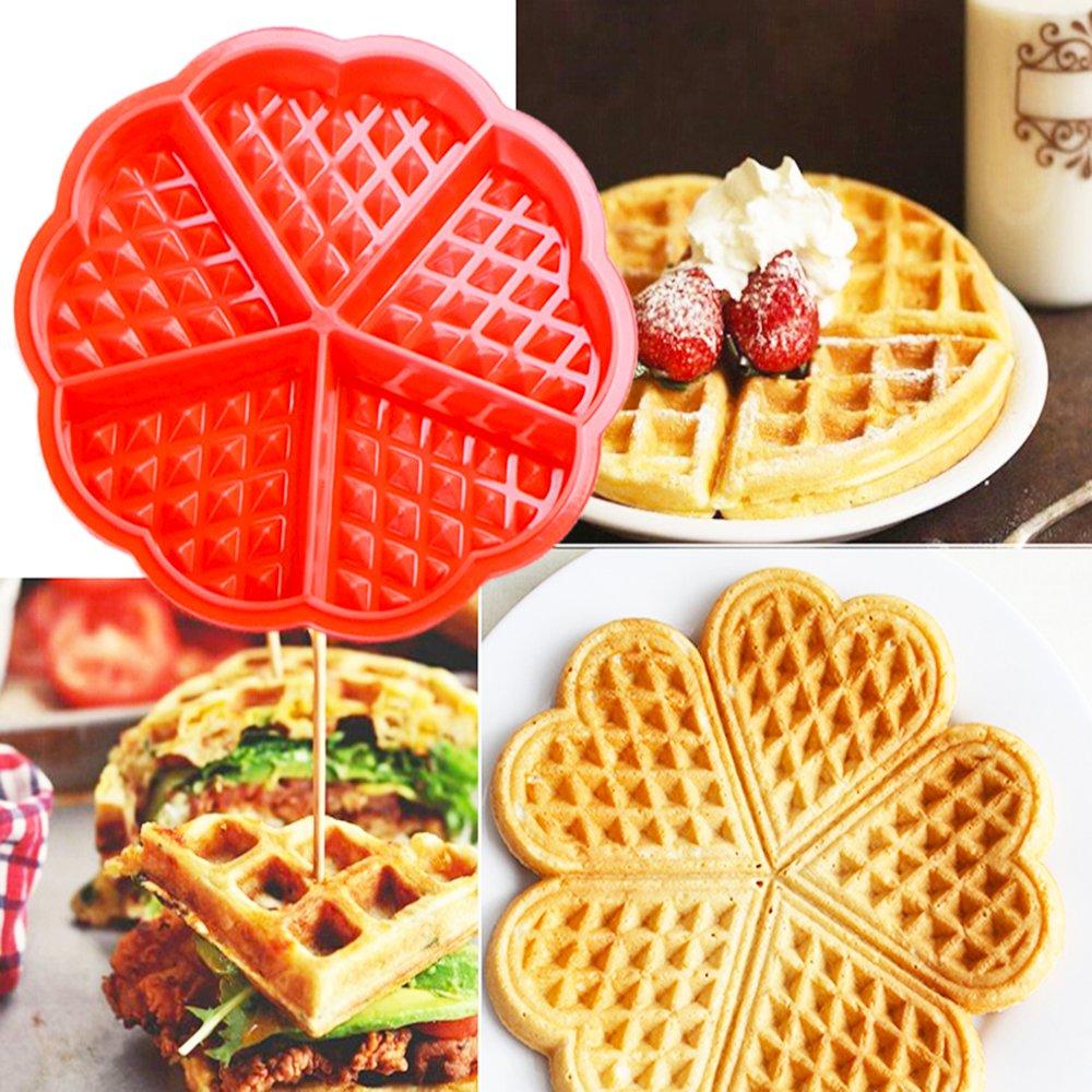 Molde de Silicona para Waffle, 2 Piezas Corazón y gofres belgas Baking Mold Chocolate Mold Cake Mold Mano Molde para hornear molde herramienta: Amazon.es: ...