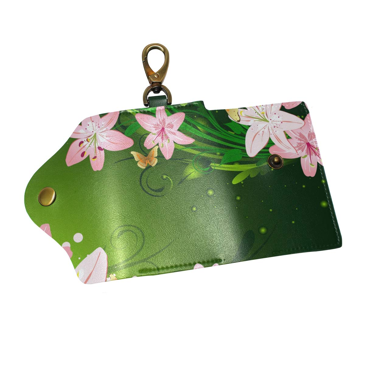 KEAKIA Floral Lily Leather Key Case Wallets Tri-fold Key Holder Keychains with 6 Hooks 2 Slot Snap Closure for Men Women