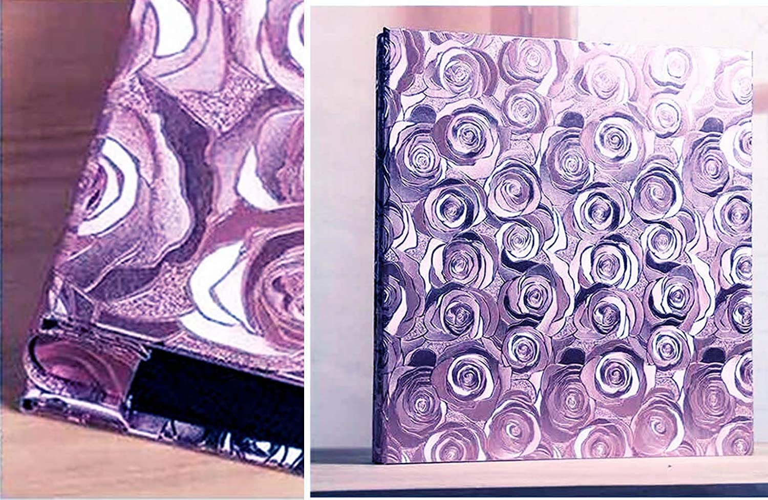 Large Capacity Deluxe Customizable XIHOME Premium Frame Cover Large Family Wedding Anniversary Baby Vacation Photo Album 600 Pockets Holds Bound Multi-Directional 4x6 Photos 5 Per Page Pink-Purple Rose