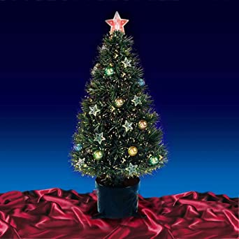 Beautiful 5ft 150cm Green Fibre Optic Lit Stars Baubles Decorated  - Fibre Optic Christmas Tree Uk Only