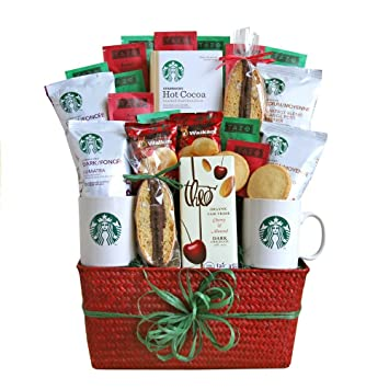 starbucks christmas gift basket with salted caramel cocoa tea and assorted holiday coffee blends