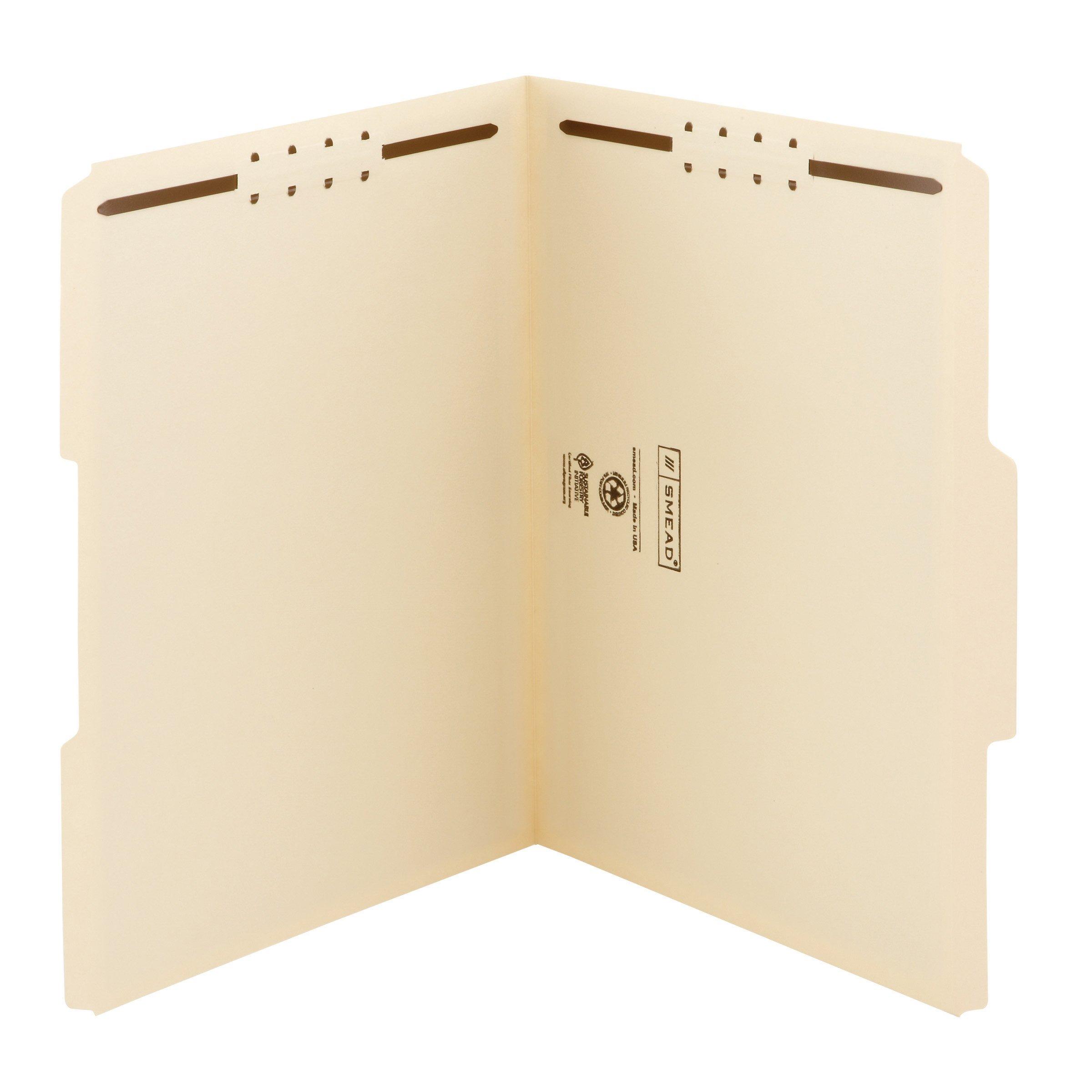 Smead Heavy-Duty Fastener File Folder, 2 Fasteners, 1/3-Cut Tab, Letter Size, Manila, 50 per Box (14600) by Smead