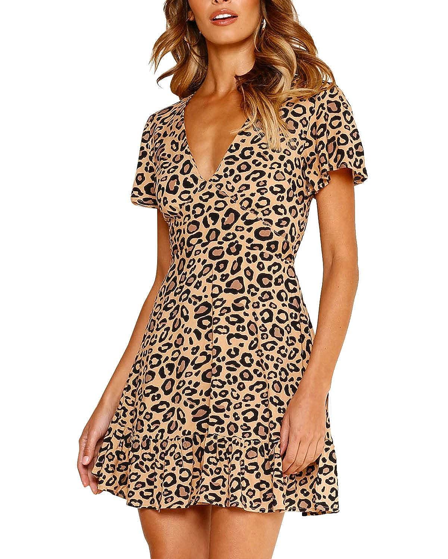 LANISEN Women Leopard Printed Deep V Neck Ruffle Party A-line Skater Mini Dresses