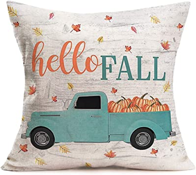 Amazon Com Smilyard Vintage Truck With Pumpkin Pillows Decorative Pillow Covers Hello Fall Quote Pillow Case Cushion Cover 18x18 Inch Cotton Linen Welcome Autumn Maple Leafs Pillowcase For Bedroom Hf Truck Home Kitchen