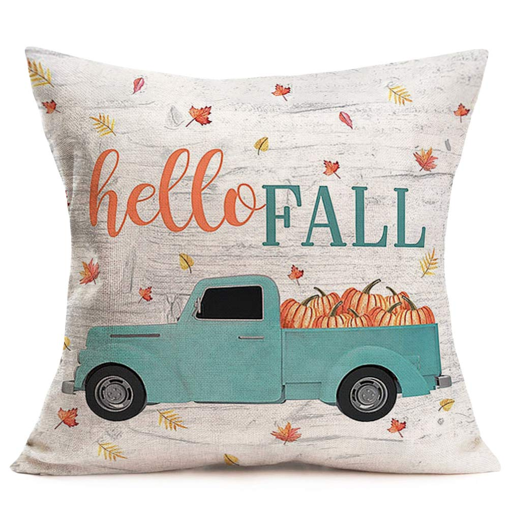 ShareJ Hello Fall Autumn Orange Maple Leaves Pumpkins Green Pickup Truck Decorative Throw Pillow Covers Cases Home Living Room Bed Sofa Car Cotton Linen Square 18 x 18 Inch