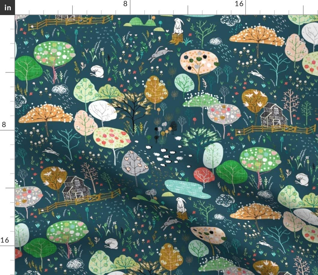 Spoonflower Fabric - Orchard Midnight Navy Fruit Apples Rabbit Woodland Farm Trees Nursery Printed on Fleece Fabric by The Yard - Sewing Blankets Loungewear and No-Sew Projects