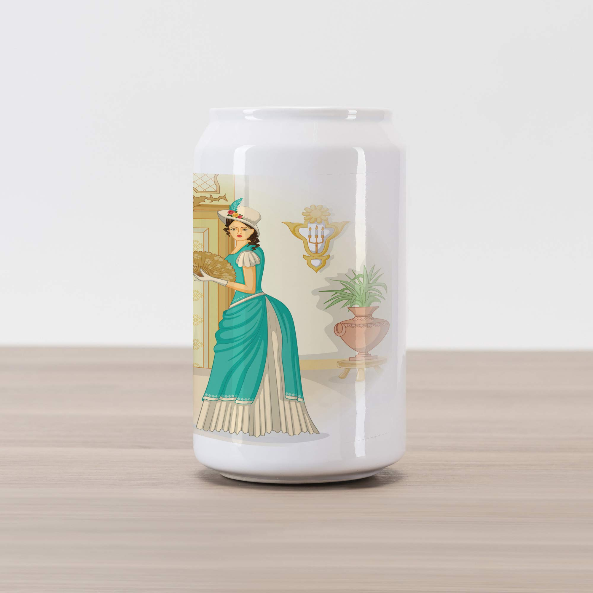 Ambesonne Renaissance Cola Can Shape Piggy Bank, Vintage Style Victorian Woman with Hand Fan Nostalgic Dress Classic Fashion, Ceramic Cola Shaped Coin Box Money Bank for Cash Saving, Multicolor
