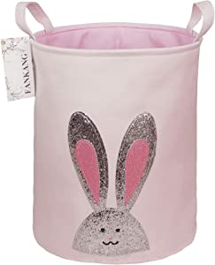 FANKANG Storage Baskets,Collapsible & Convenient Nursery Hamper/Laundry Bin/Toy Collection Organizer for Kid's Room (Pink Rabbit)