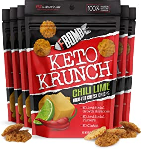 FBOMB Cheese Crisps 6 Pack: Crunchy, Oven Baked Keto & Low Carb Snack   100% Natural, Premium Artisan Cheese, High Protein, Gluten Free Keto Snack   Chili Lime 6 Pack