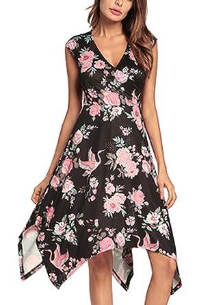 Destinas Women s Sleeveless Summer Casual Floral Tank Dress Flowy Beach  Sundress S Black 49642e964
