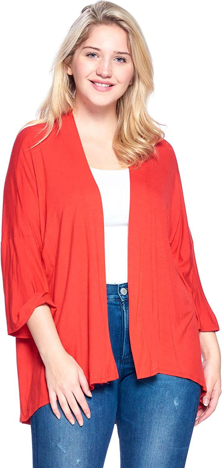 Made in USA 1X-4X Modern Kiwi Womens Plus Size Solid 3//4 Sleeve Open Front Cardigan