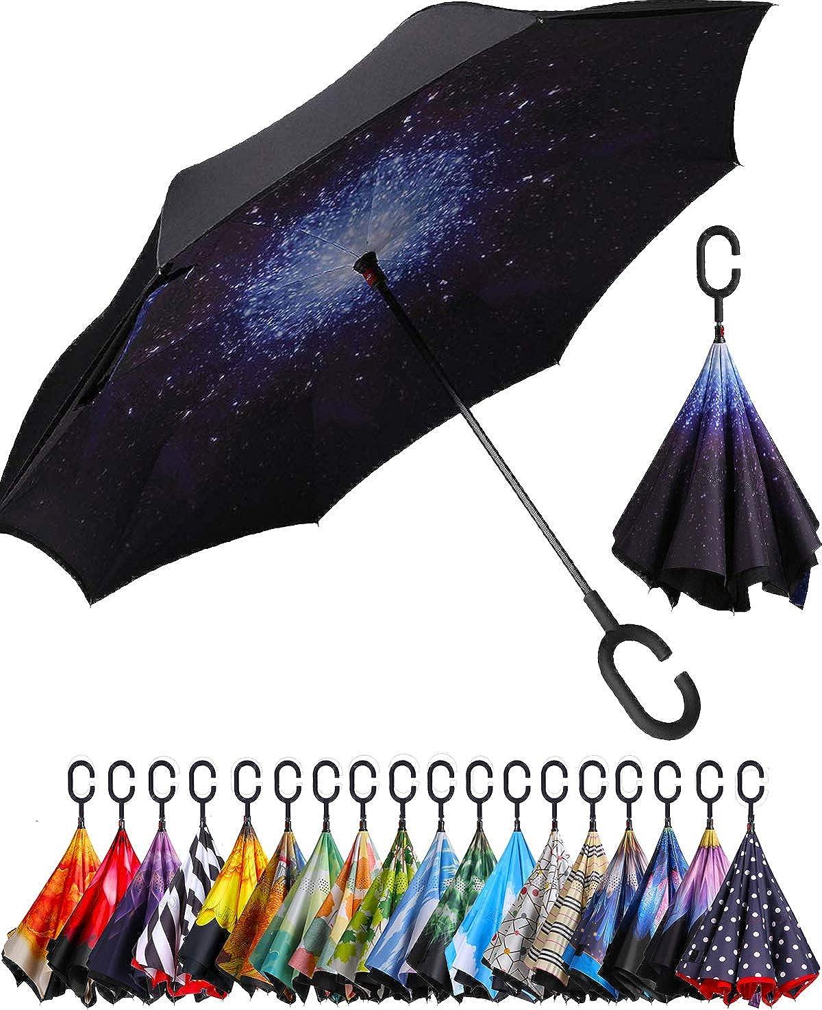 Upside Down Umbrellas C-Shaped Handle Women Men Double Layer Inside Out Folding Umbrella Rainbow Shading Reverse Inverted Windproof Umbrella