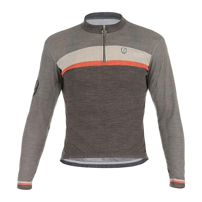 Giordana Mens Sport Merino Wool Blend Long Sleeve Cycling Jersey - GS-S6-LSWO-GSPT-BEOR-02