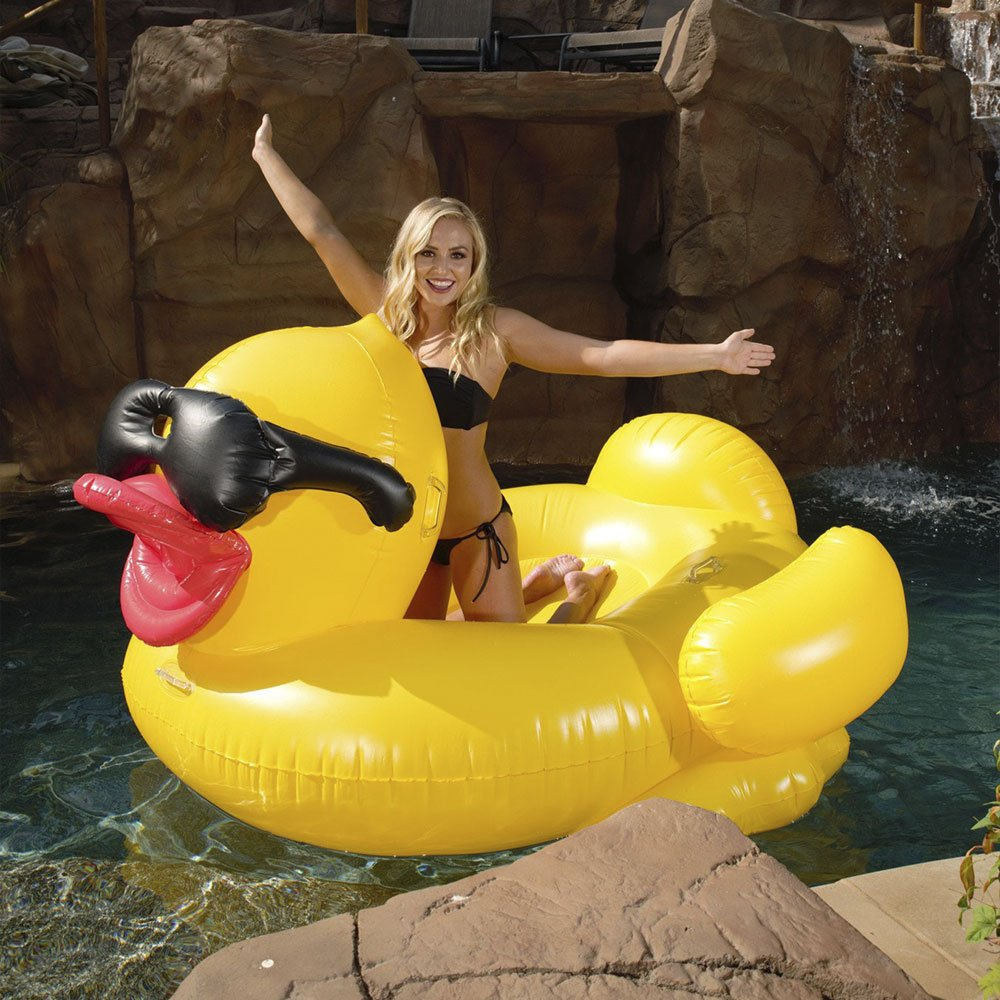 Derby Duck Inflatable Swimming Pool Float with Cup Holders and Handles For Kids & Adults